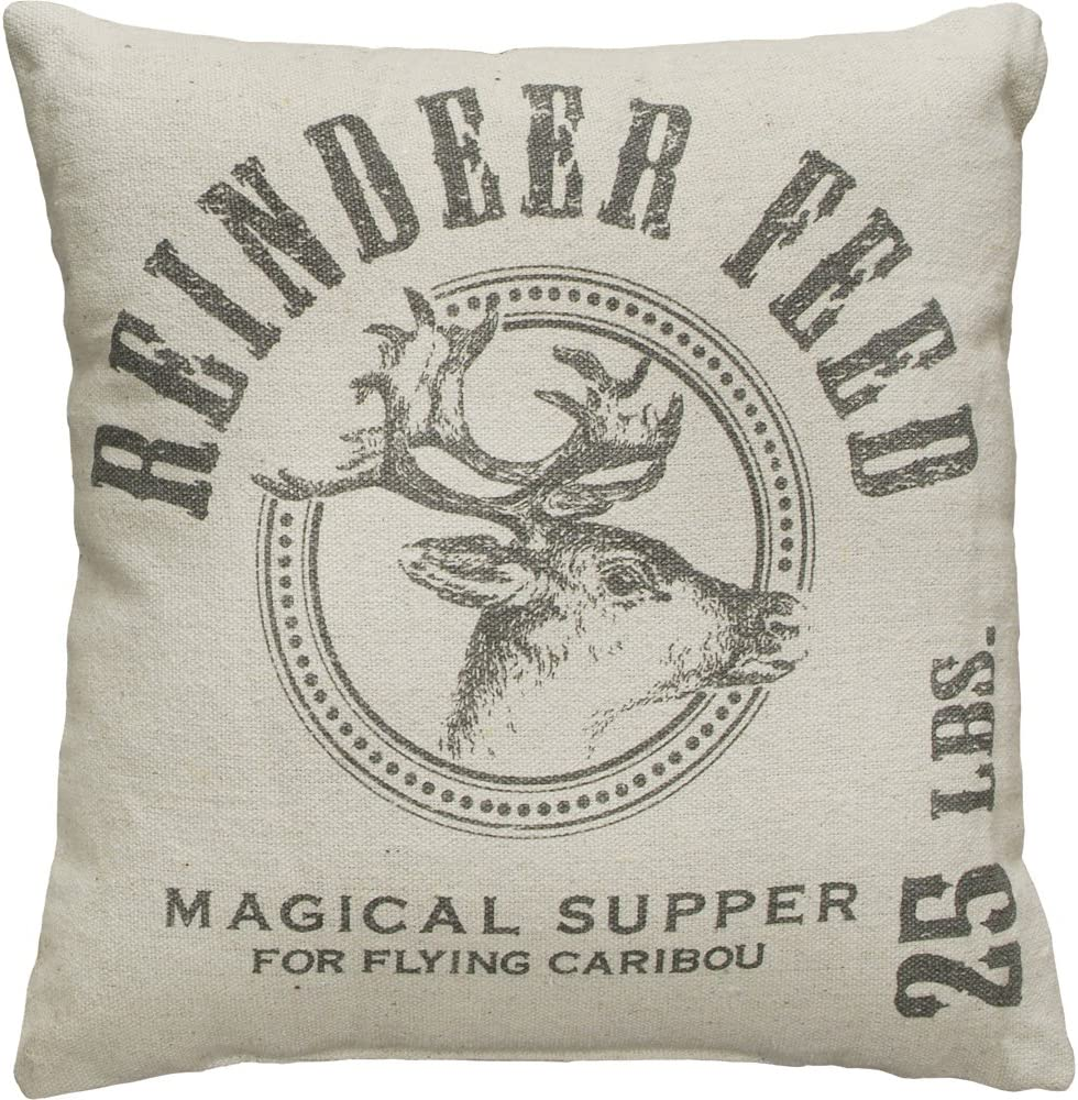 Primitives by Kathy Holiday Reindeer Feed Throw Pillow