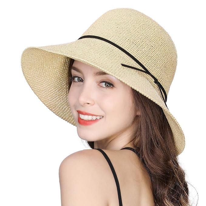 5a201d0fb Jeff & Aimy Womens Crochet Straw Sun Hat Floppy Wide Brim Fashion Beach  Accessories Packable