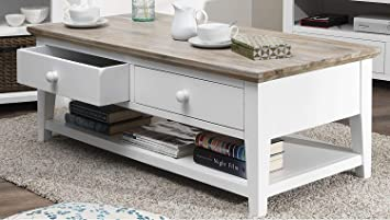 Florence Coffee Table With 2 Drawers And Shelf White Coffee Table