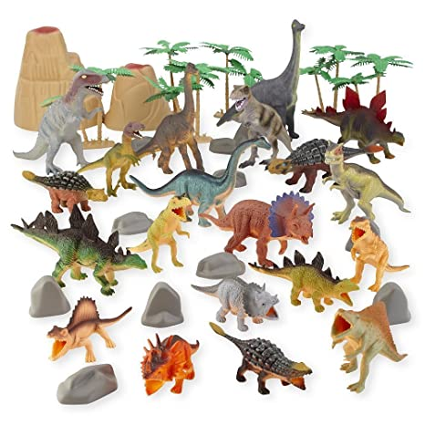 18 Toy Dinosaurs In Tub With Dinosaur Playmat Action Figures