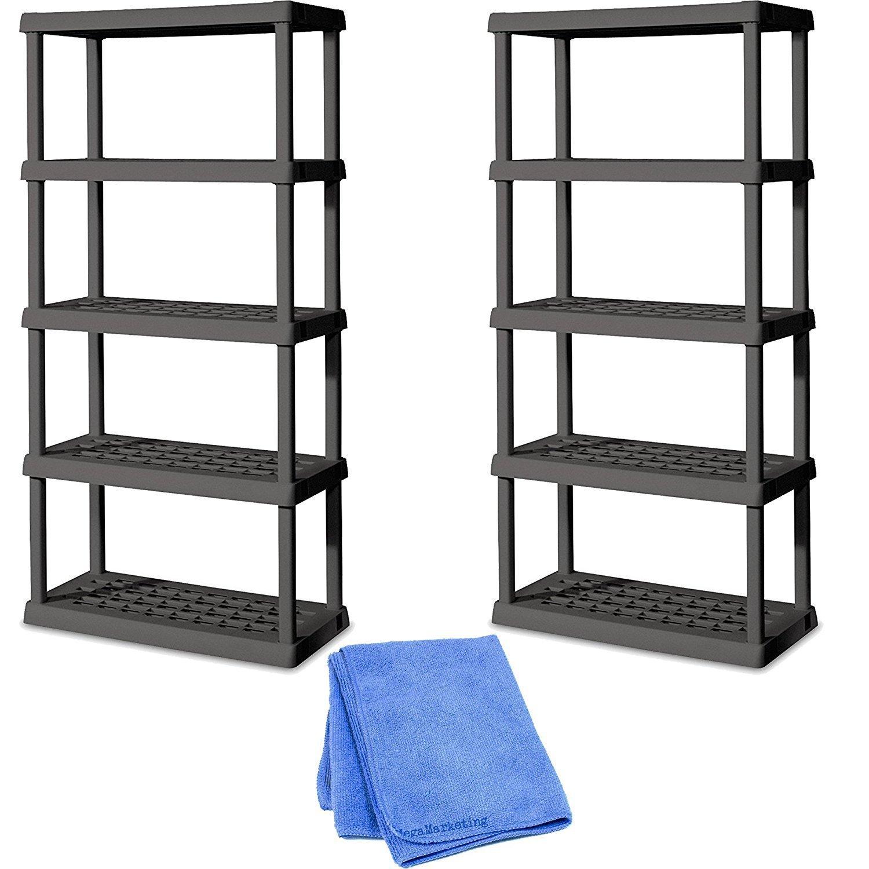 Sterilite 01553V01 5 Shelf Unit, Flat Gray Shelves & Legs, 2-Pack with Dusting Cloth