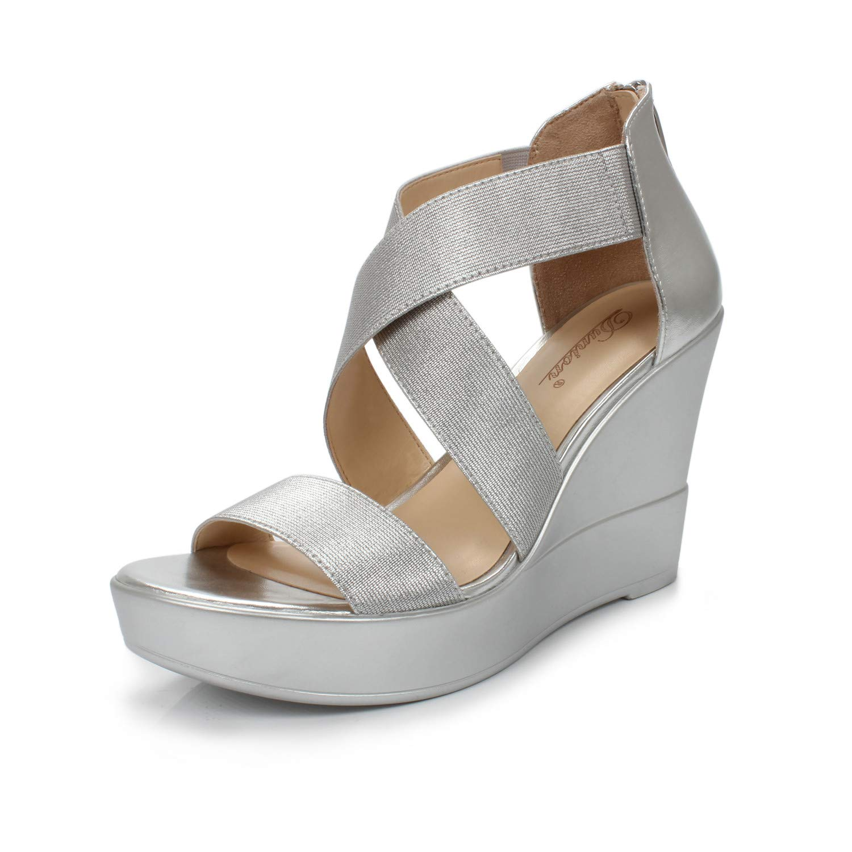 DUNION Women's AWE Zip Closure Crisscross Straps Platform Wedge Sandal Wedding Party Dress Shoe,Silver Awe,6.5 B(M) US
