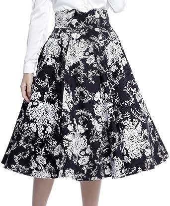 Forbidden Love XS-22 Black White Floral High Detail Print 40s 50s Swing Skirt