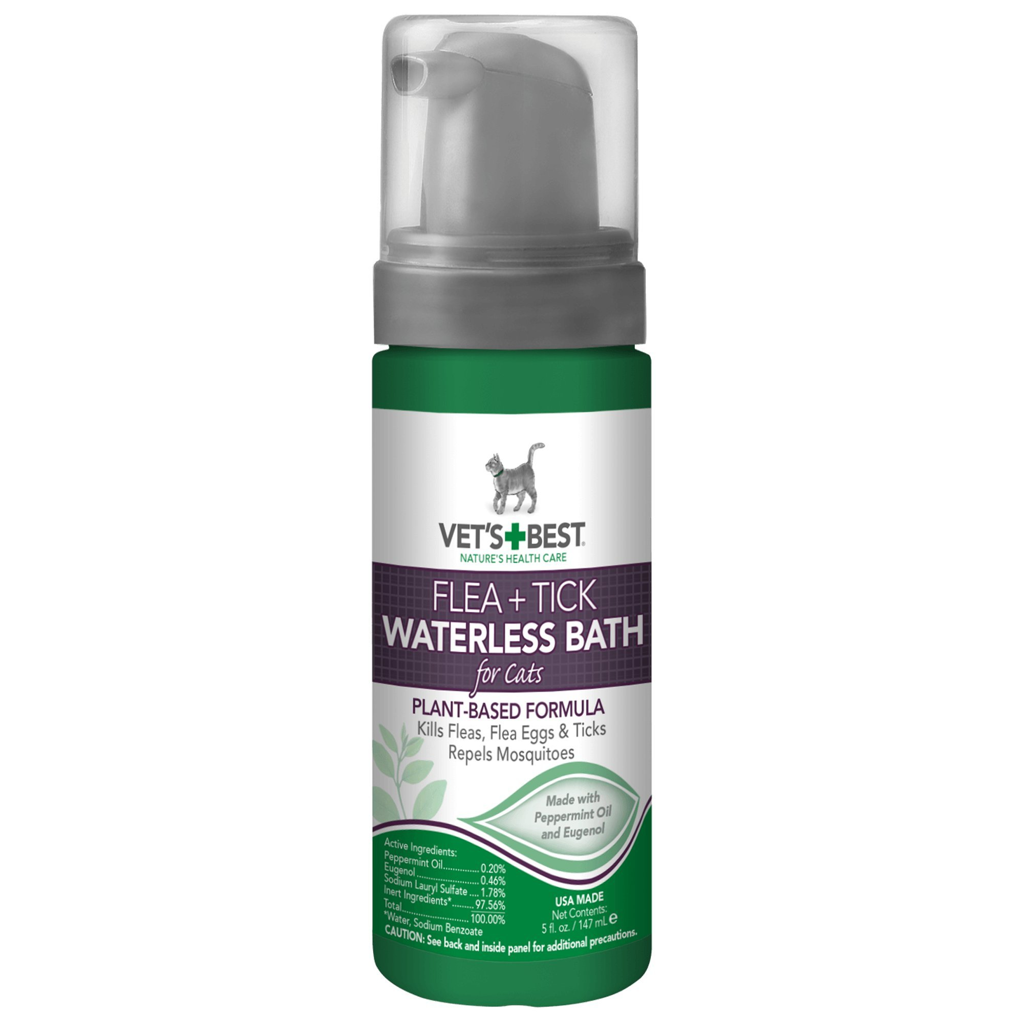 Vet's Best Flea and Tick Waterless Bath Foam Dry Shampoo for Cats, 5 oz, USA Made