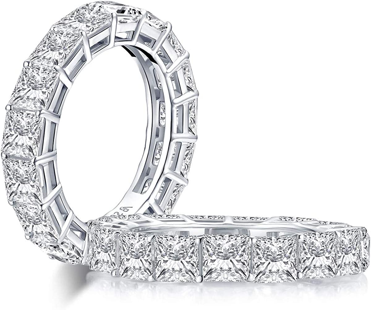 YUNNKAI 925 Sterling Silver Platinum Plated Cubic Zirconia 4.4mm Eternity Ring for Women