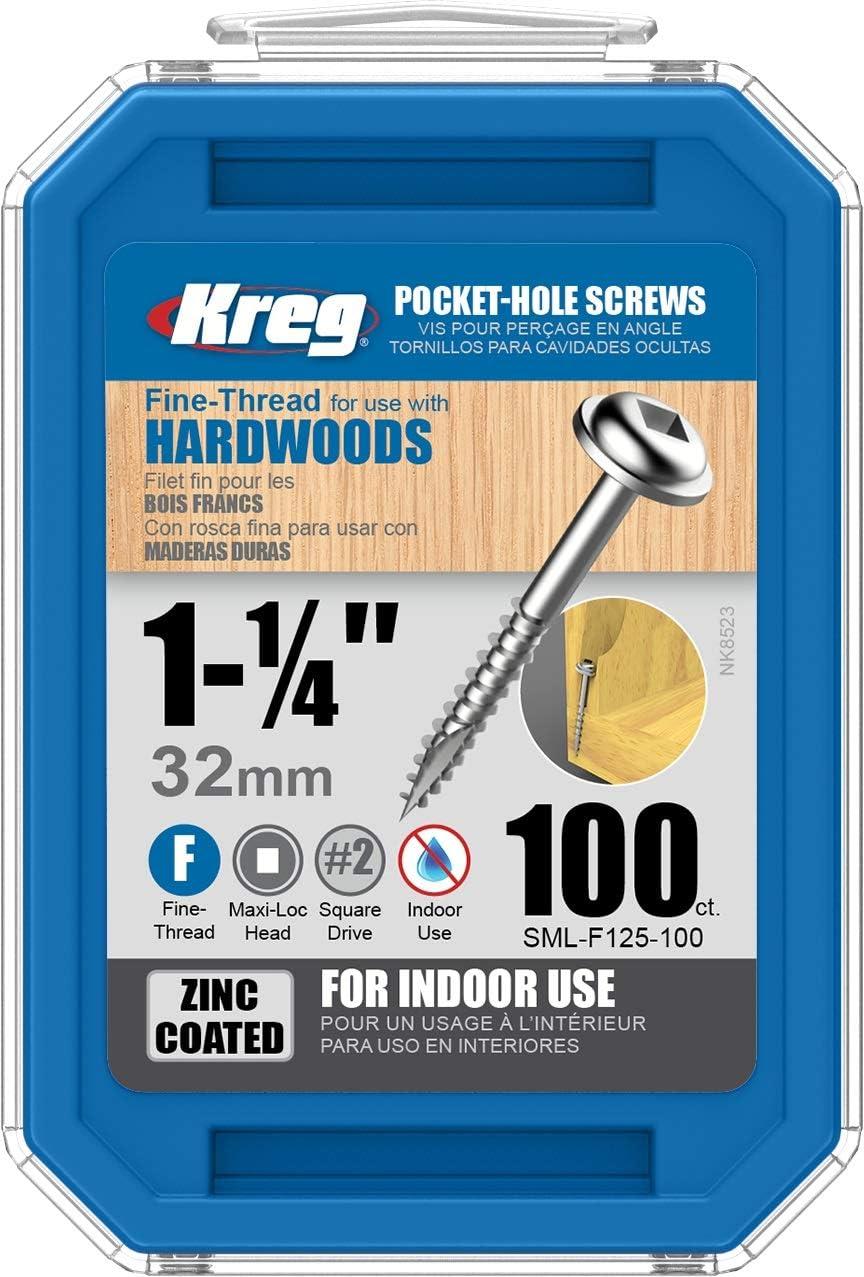 Kreg 879514 Bo/îte de 500 Vis /à t/ête rondelle Zinc//pas gros pour trous borgnes