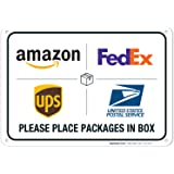 Package Delivery Sign, Delivery Instructions for FedEx Amazon Ups USPS Sign, 10x7 Rust Free Aluminum,Weather/Fade…