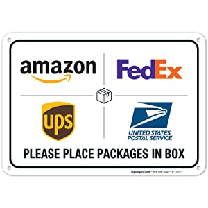 Package Delivery Sign, Delivery Instructions for FedEx Amazon Ups USPS Sign, 10x7 Rust Free Aluminum,Weather/Fade Resistant, Easy Mounting, Indoor/Outdoor Use, Made in USA by SIGO SIGNS
