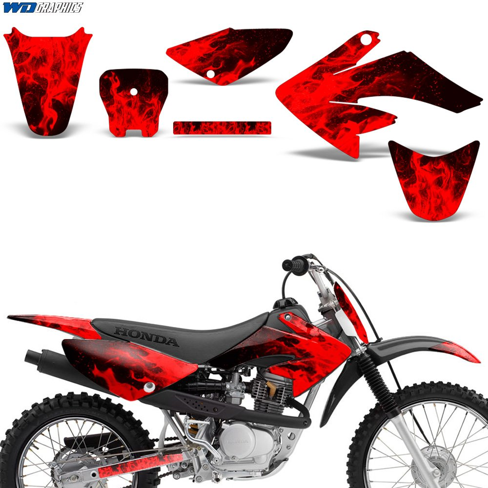 Amazon com honda crf 70 80 100 2004 2015 decals graphics kit mx bike stickers crf70 crf80 crf100 flames red automotive