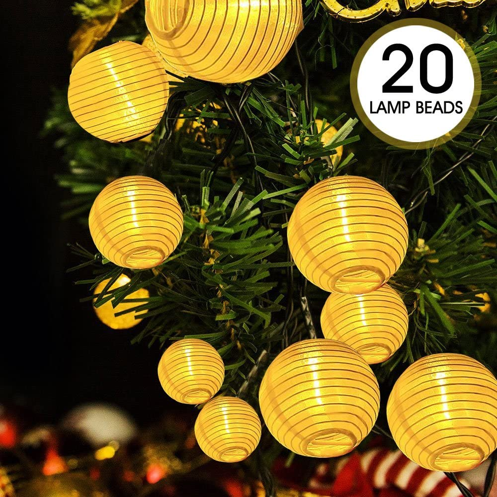 Cadena de luces LED, ikalula 20 LED Luces de Cadena Solares Iluminación Decorativa para Navidad, Fiestas, Bodas, Jardines, Festivales - Blanco Cálido
