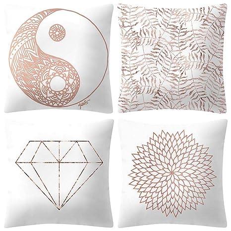 VJGOAL Moda impresión decoración del hogar Rosa Suave Funda de cojín Cuadrado cómodo Funda de Almohada 4 Piezas Conjunto(45_x_45_cm,Rosado5)