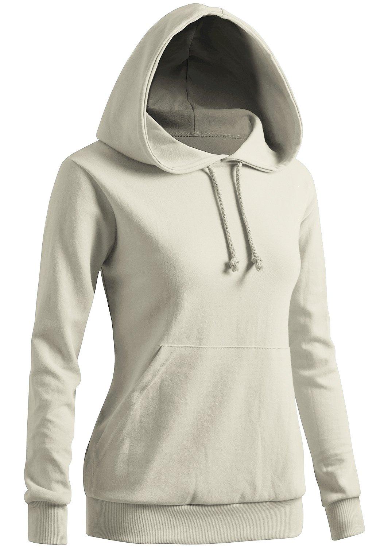 CLOVERY Women's Drawstring Long Sleeve Hoodie Ivory US M/Tag M