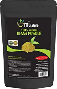 mi nature Henna Powder (LAWSONIA INERMIS)/ 100% Pure, Natural Henna from Rajasthan, India (454g / (1 lb) / 16 ounces) Natural Hair Dye/Color