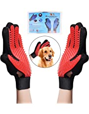 OWUDE Pet Grooming Glove - Gentle Hair Remover Mitt - Breathable Deshedding Massage Tool Bathing Brush - Enhanced Five Finger Design - Perfect for Dog & Cat with Long & Short Fur - 1 Pair (Red)