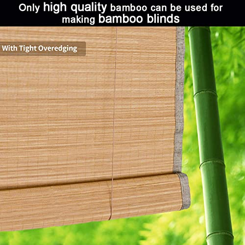 uyoyous Bamboo Window Blinds, 36W x 72H Inches Summer UV Protection Natural Light Filtering Roll Up Window Roller Shades with Valance for Porch, Doors, Kitchen, Kitchen, Garden