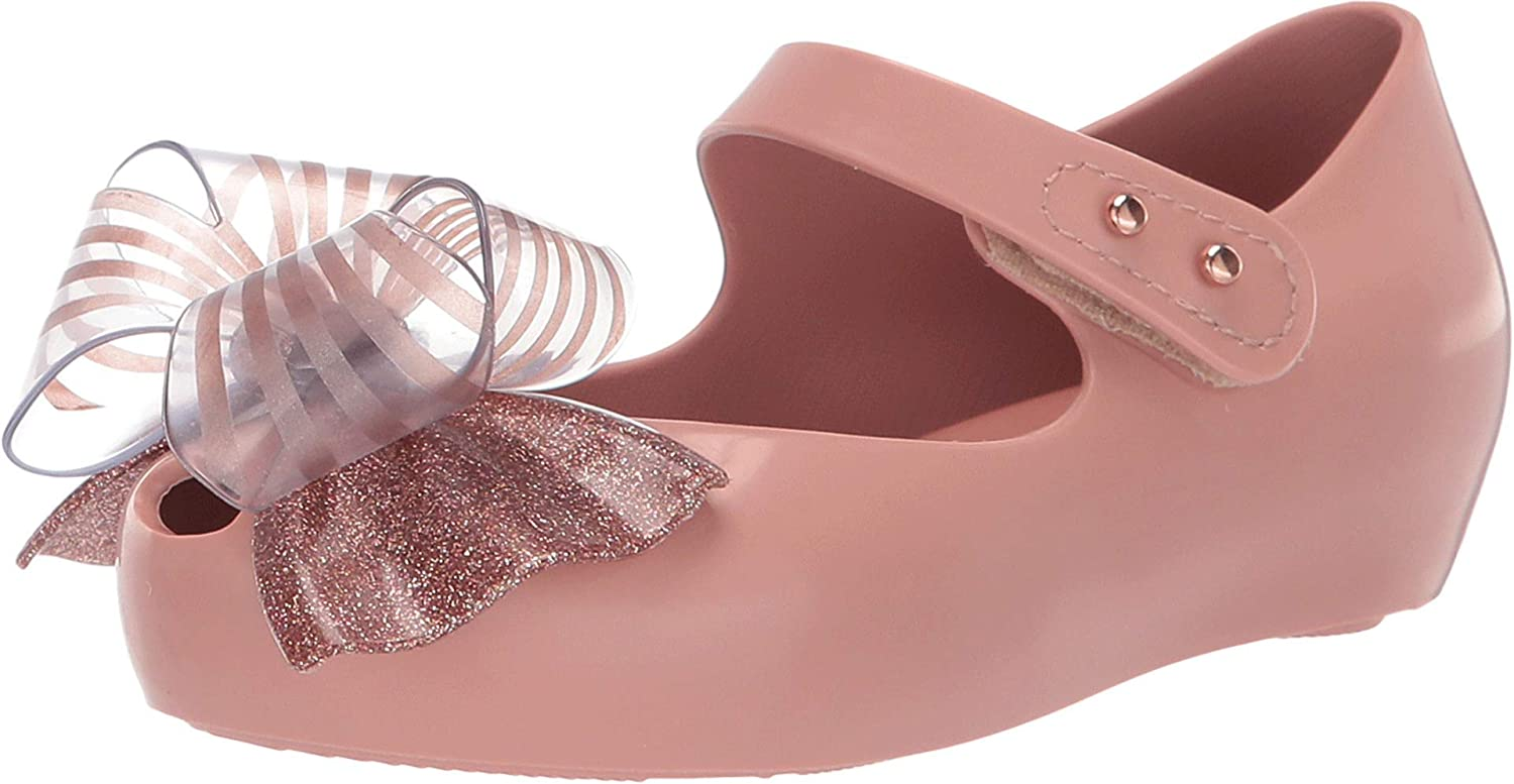 Mini Melissa Mary Jane Toddler Shoes Size 6 Gold Glitter Peep Toe Ballet Shoes