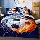 ARL HOME Fire and Ice Bedding 3 Piece Queen Size Soccer Duvet Cover Sports Boys Bedroom Decor Football Quilts Cover with…