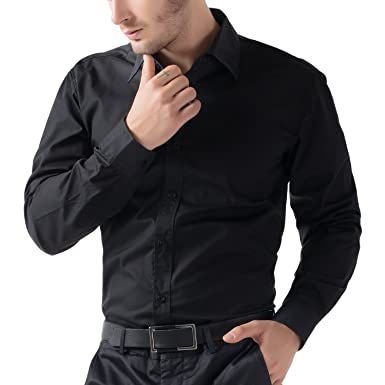 Being Fab Men's Solid 100% Cotton Regular Fit Casual Black Shirt ...