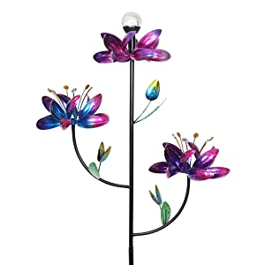 "Exhart Triple Lotus Flower Wind Spinners Garden Stake w/Solar Crackle Ball – Metallic Flower Spinners in Colorful Metal Design Spin w/Light Up Glass Ball - Yard Art Décor 23"" L x 12"" W x 75"" H"