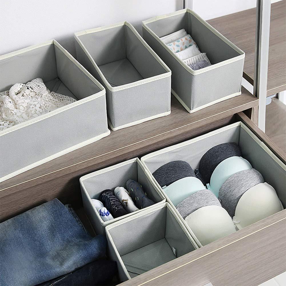 Cravatte Vestiti 6-Pack Black /& White cassettiera Calze per Armadio Set di contenitori Pieghevoli in Tessuto contenitori divisori per Biancheria Intima QYONLINE Reggiseni cestini in Tessuto