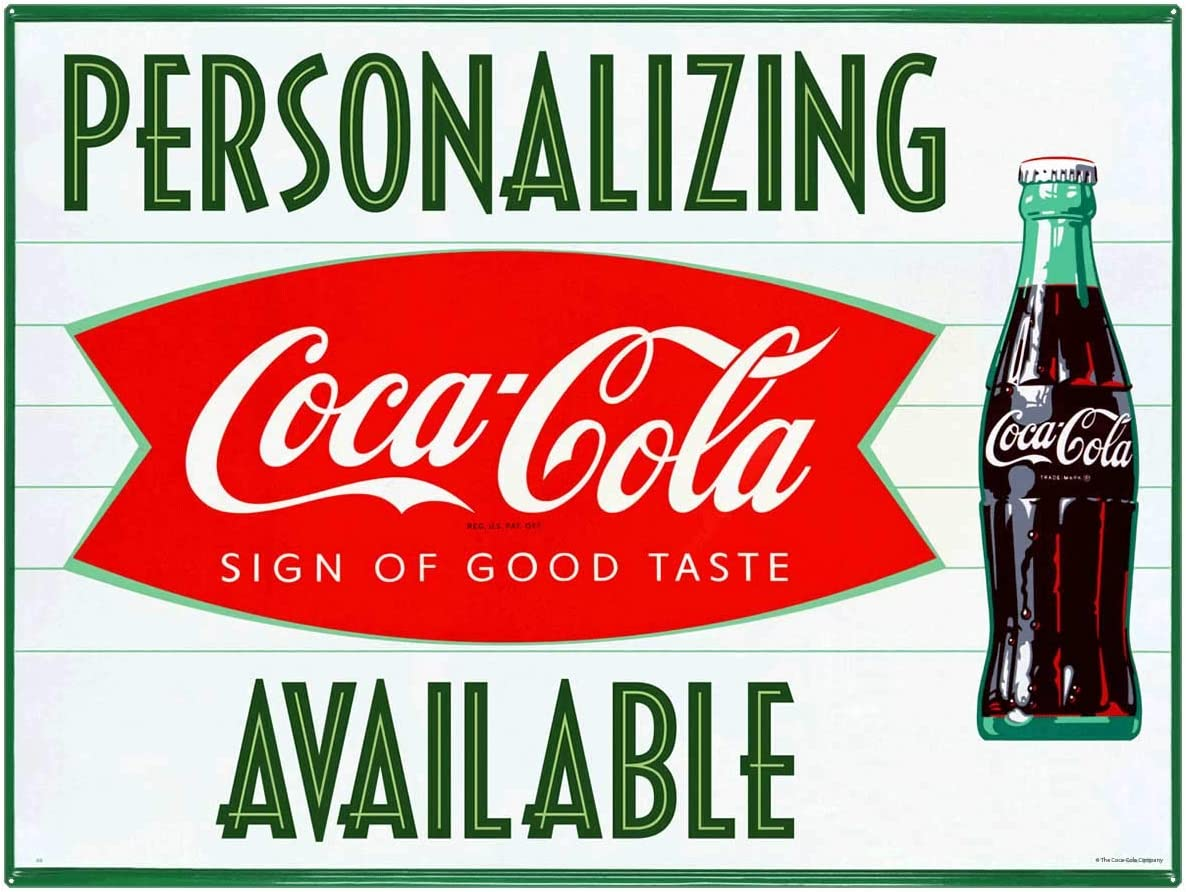 Drink Coca-Cola Embossed Arrow Tin Metal Sign Ice Cold Coke Bottle Fishtail