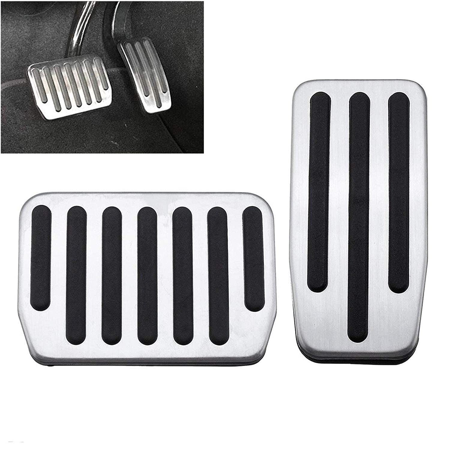 Accelerator and Brake Pedal-Cover Anti Slip Gas Brake Pedal Foot Pedal Pads Auto Aluminum Pedal Covers Foot Pads with Rubber Pull Tabs Tesla Model3 Pedal Cover ALLPE Tesla Model 3 Accessories