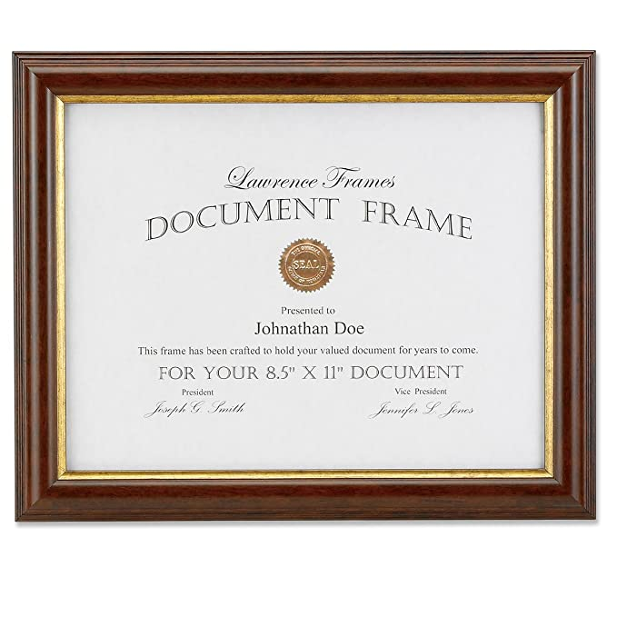 Amazon Lawrence Frames 185181 Walnut And Gold Document Picture