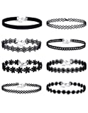 Amazon Price History for:Mudder Lace Choker Necklaces Velvet Stretch Tattoo Choker Necklaces, Black, 8 Pieces