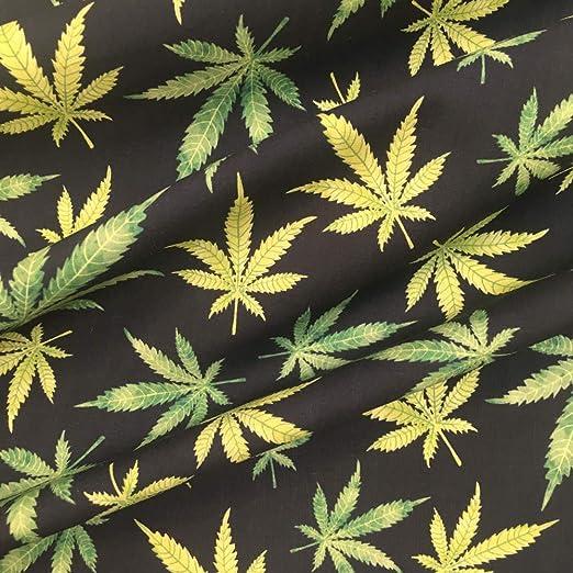 Tela popelín estampada digital por metros - 100% algodón - 140 cm ancho - Largo a elección de 50 en 50 cm - Para decoración y ropa de vestir | Hojas de Marihuana - Verde, negro: Amazon.es: Hogar
