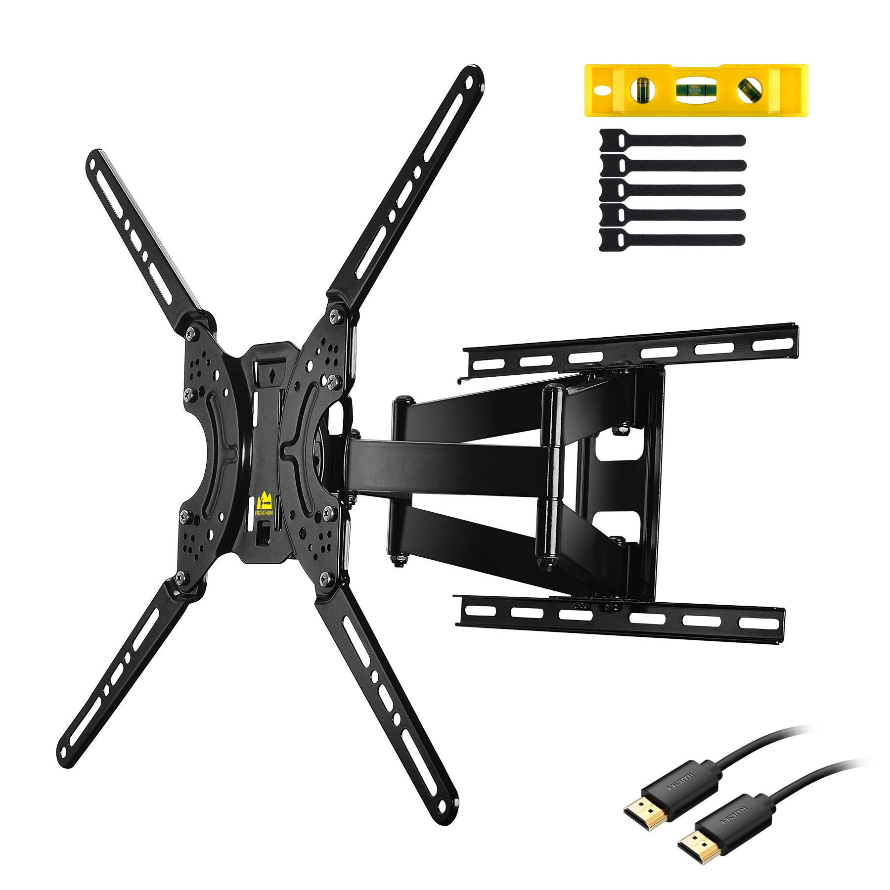 FORGING MOUNT Full Motion TV Wall Mount Bracket Dual Articulating Arms for Most 37-70 inch LED,LCD,OLED,Plasma Screen TVs up to 132LBS VESA 600X400mm-16.5'' Extension FM9380-B