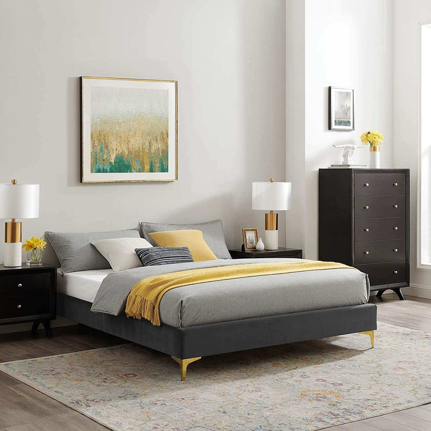 Modway MOD-6275-CHA Sutton Queen Performance Velvet Bed Frame, Charcoal