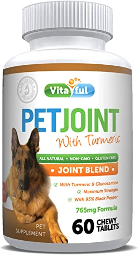 VITAFUL PetJoint Turmeric Glucosamine for Dogs, Cats, Pets, Anti Inflammatory Supplement, Antioxidant, Promotes Pet Mobility Prevents Joint Pain Inflammation, 60 Natural Chewable Tablets