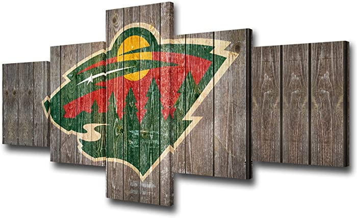 Native American Canvas Wall Art Minnesota Wild Team Logo Prints Painting National Hockey League Picture Decor Living Room Ice Puck Sports Artwork Wooden Framed 5 Panel Ready to Hang(50Wx24H inches)