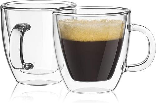 JoyJolt Savor Double Wall Insulated Glasses Espresso Mugs