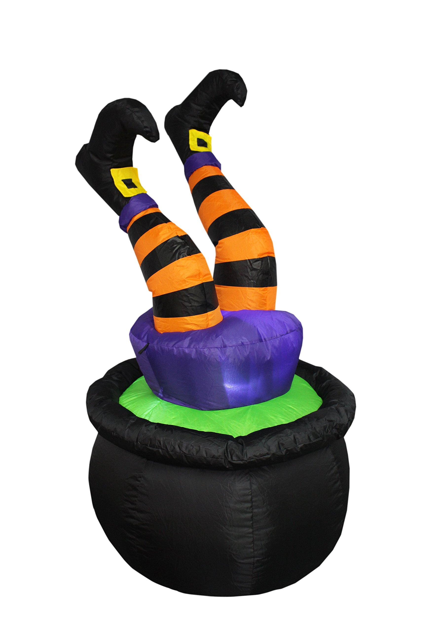 BZB Goods 4 Foot Tall Halloween Inflatable Witch Legs in Pot LED Lights Decor Outdoor Indoor Holiday Decorations, Blow up Lighted Yard Decor, Lawn Inflatables Home Family Outside
