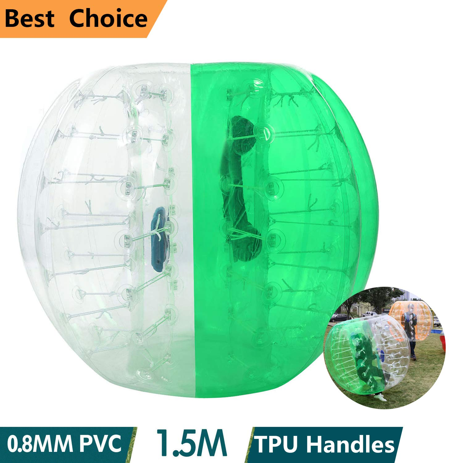 shaofu Inflatable Bumper Ball Dia 4/5 ft (1.2/1.5 m) Human Hamster Ball for Adults/Kids Eight Colors(US Stock) (Dia 5 ft/Green)