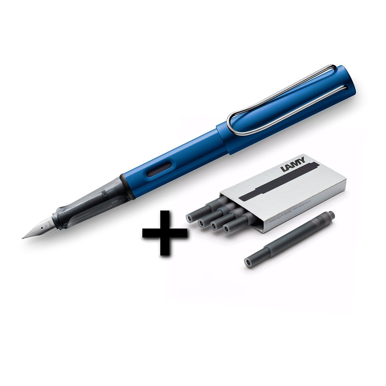 Lamy AL-Star Fountain Pen (26F) Graphite + 5 Black Ink Cartridges