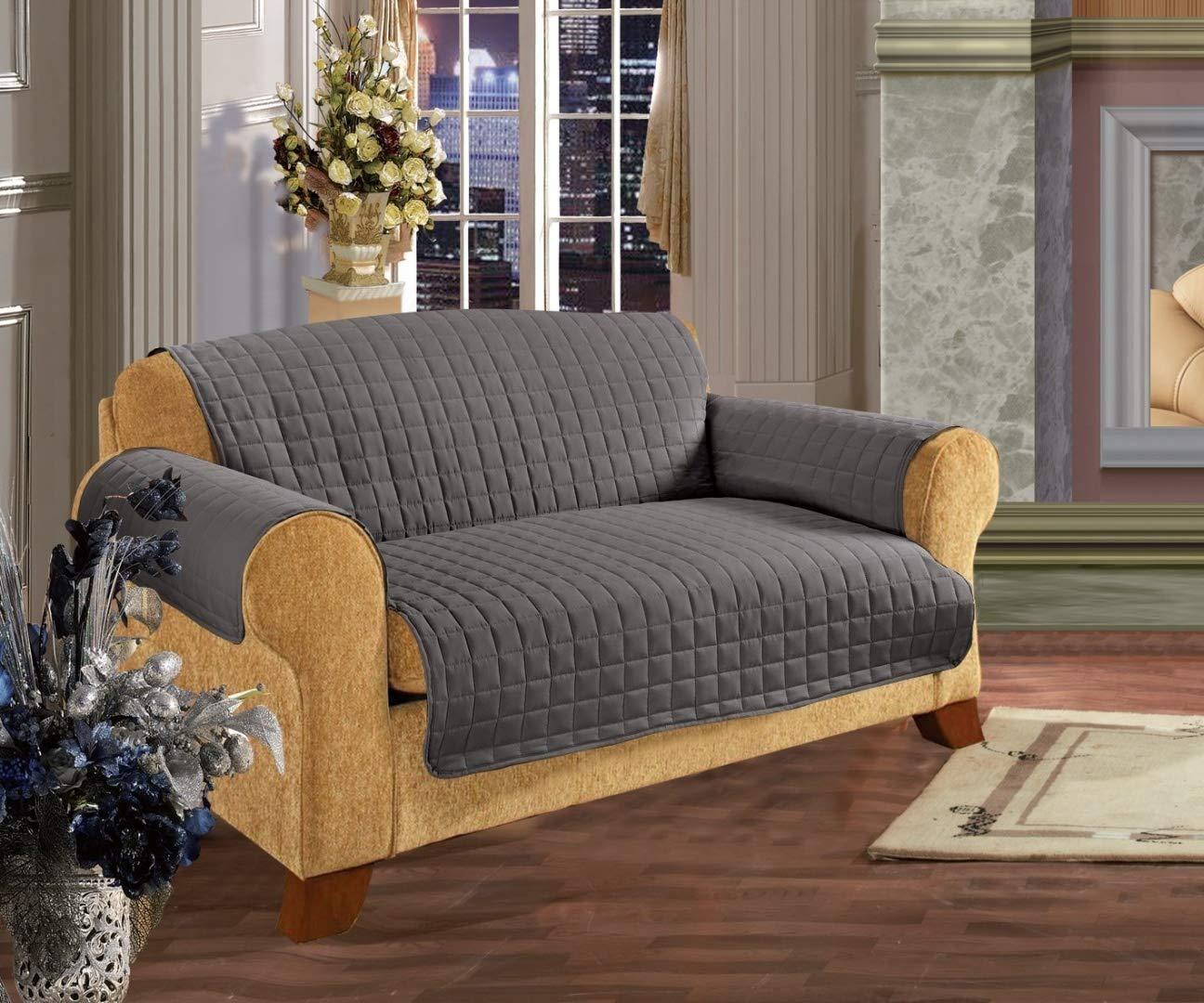 Elegance Linen Quilted Pet Dog Children Kids Furniture Protector Microfiber Slip Cover Sofa, Gray