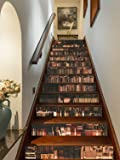 """FLFK 3D Retro Bookcase Self-Adhesive Stair Stickers Bookshelf Staircase Stickers Decals for Home Decoration 39.3""""x7…"""
