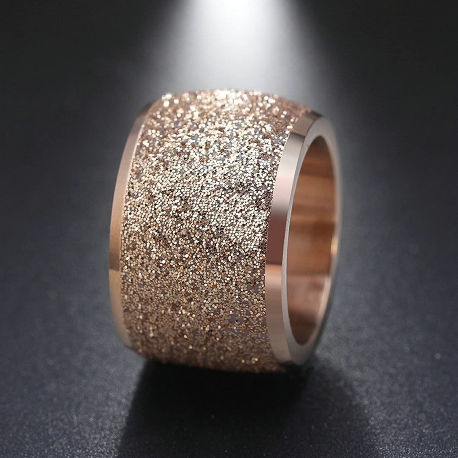 Onefeart Stainless Steel Ring for Women Girls Scrub Wide Design Wedding Band Rose Gold Size L 1/2 - R 1/2 ylWTVPNCM