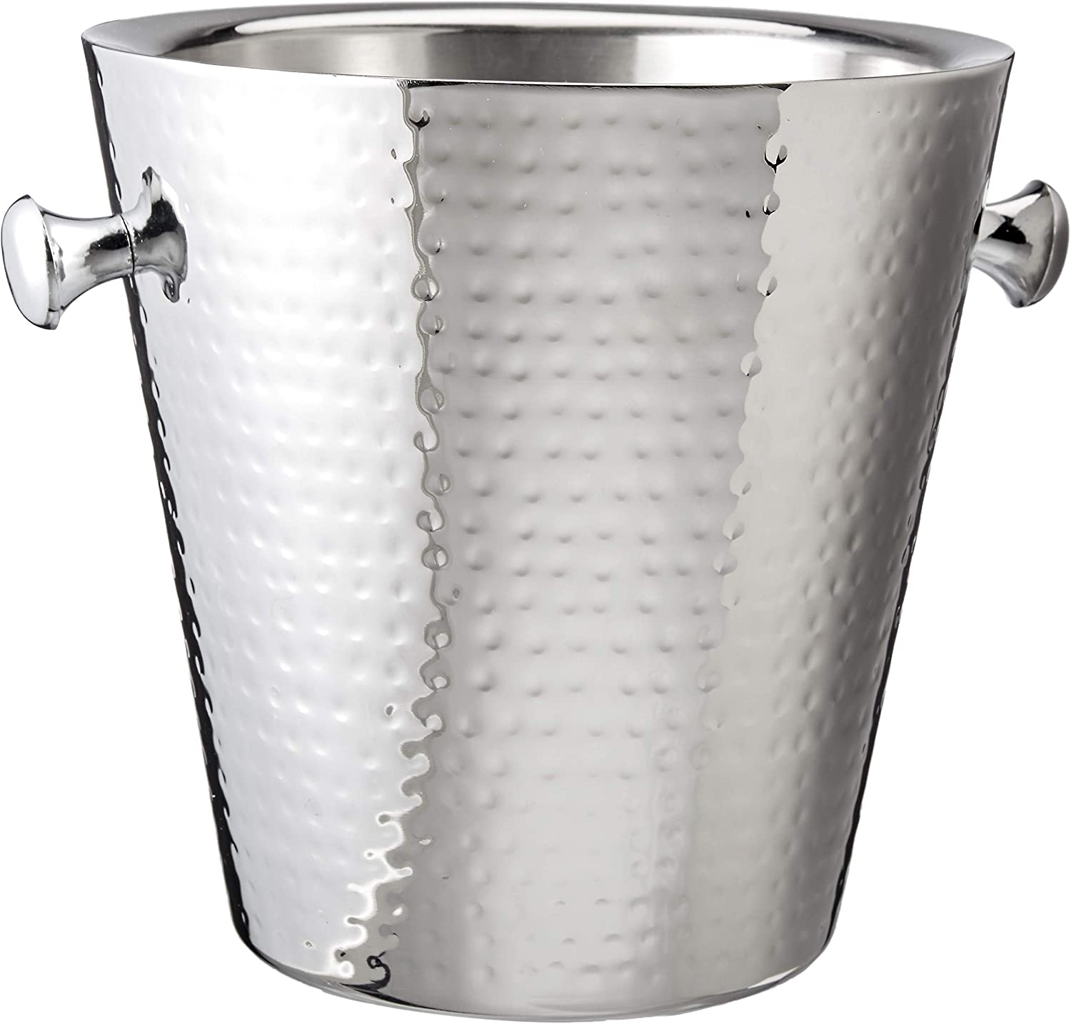 "Elegance Hammered Stainless Steel Doublewall Champagne Bucket, 9"", Silver"