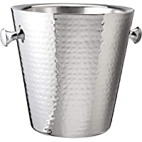 """Elegance Hammered Stainless Steel Doublewall Champagne Bucket, 9"""", Silver"""
