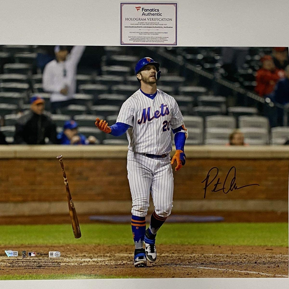 Autographed/Signed Pete Alonso New York Mets 16x20 Baseball Photo Fanatics COA