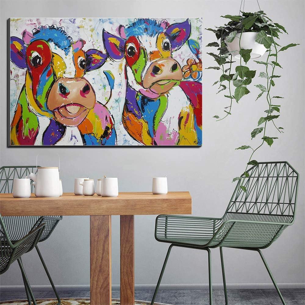 Five-Seller Wandkunst Leinwand Zwei Bunte Kuh Drucke /Ölgem/älde Bild Auf Leinwand Moderne Graffiti Aquarell Kunstwerk F/ür Wohnkultur 40 x 60 cm