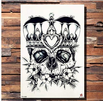 ruofengpuzi Adesivo tatuaggioCorona Cráneo Flor Ancla Etiqueta ...
