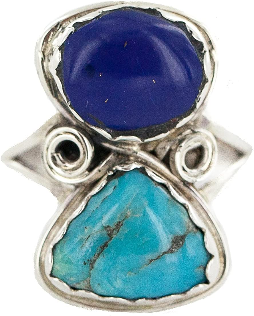 $270Tag Silver Navajo Certified Natural Turquoise Lapis Native Ring 18187-101 Made by Loma Siiva