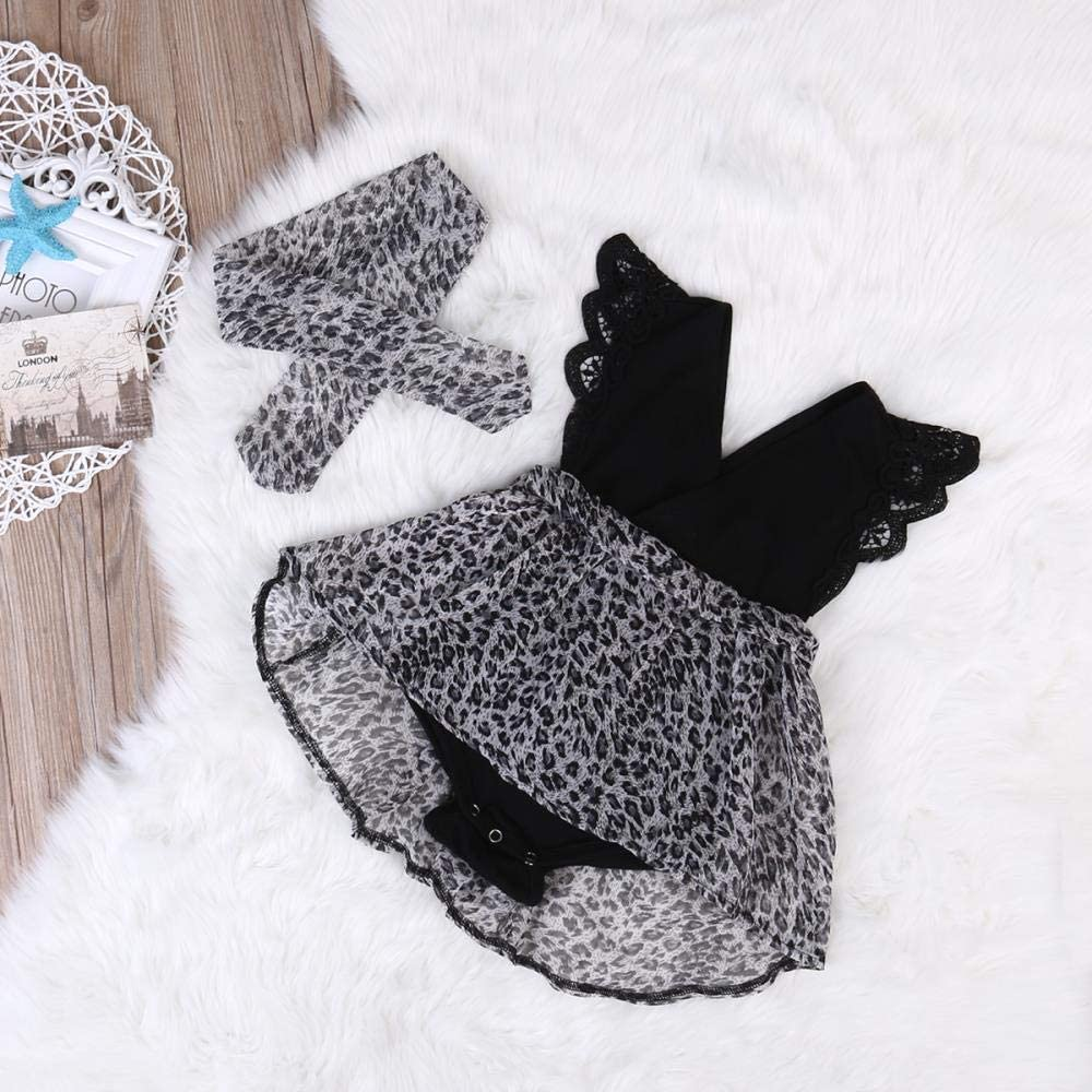 Fascia 2pcs Vestito Vestito di Estate dei Bambini del Bambino AOONE 0-7Y Vestiti della neonata di Modo Vestito del Leopardo Vestito di Pagliaccetto del Manicotto di Increspatura del Pizzo