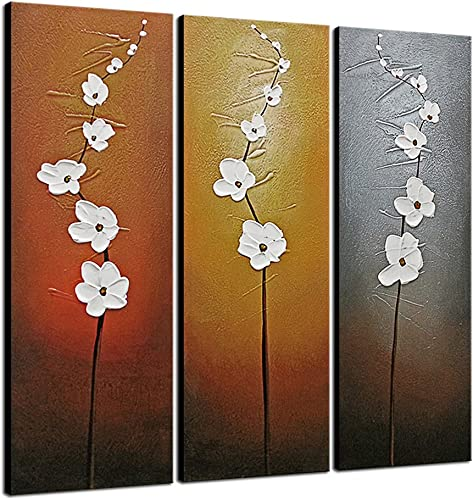 Wieco Art Extra Large Modern Contemporary Flowers Artwork 3 Panels Decorative 100 Hand Painted Gallery Wrapped Abstract Floral Oil Paintings on Canvas Wall Art Ready to Hang for Home Decor