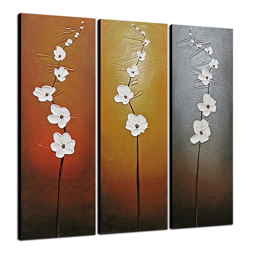 Wieco Art 3 Piece White Flowers Oil Paintings on Canvas Wall Art for Living Room Bedroom Home Decorations Modern Stretched and Framed 100% Hand Painted Contemporary Grace Abstract Floral Artwork LEPAC7988