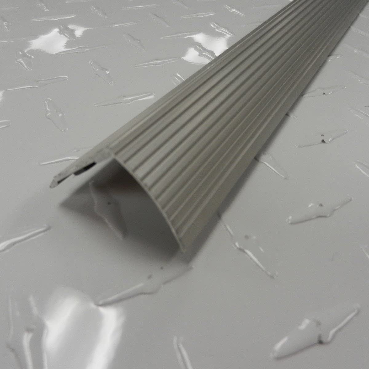 36 in L quot Silver M-D Building Products 43309 M-D Fluted Stair Edging Transition Strip Aluminum Prefinished Satin